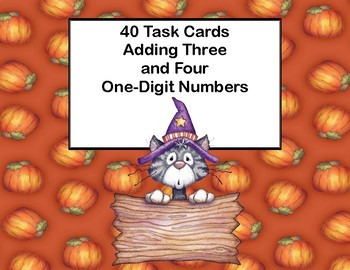 Adding 3 and 4 One-digit Numbers-Task Cards-Grade 2 -Halloween Theme