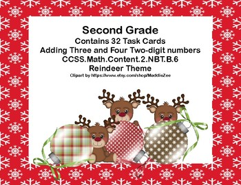 Adding 3 and 4 Two-digit Numbers-Math Task Cards- 2nd Grade-Reindeer Fun