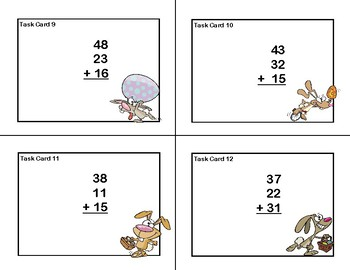 Adding 3 and 4 Two-digit Numbers-Task Cards-Grades 2-3 Bunny Theme