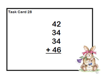 Adding 3 and 4 Two-digit Numbers-Task Cards-Grades 2-3 Easter Bunny Theme