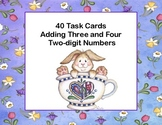 Adding 3 and 4 Two-digit Numbers-Task Cards-Grades 2-3 Eas