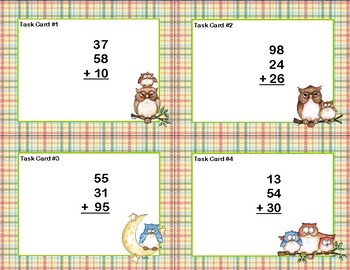 Adding 3 and 4 Two-digit Numbers-Task Cards-Grades 2-3 Grumpy Owl Theme