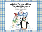 Adding 3 and 4 Two-digit Numbers-Task Cards-Grades 2-3 Sno