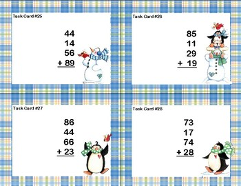 Adding 3 and 4 Two-digit Numbers-Task Cards-Grades 2-3 Snowman Theme