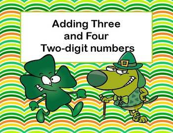 Adding 3 and 4 Two-digit Numbers-Task Cards-Grades 2-3 St. Pat's