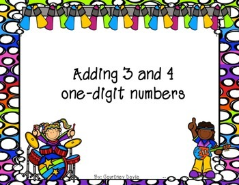 Adding 3 and 4 one digit numbers Task Cards