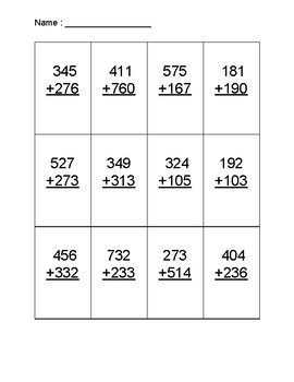 Adding 3-digit Numbers (With and Without Regrouping)