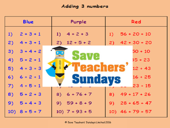 Adding 3 numbers lesson plans, worksheets and more