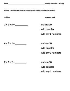 Adding 3 numbers with identifying the strategy used