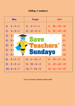 Adding 3 Numbers Worksheets (3 levels of difficulty)