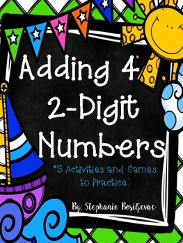 Adding 4 2-Digit Numbers (Summer Theme)