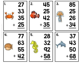 2-digit Addition with 4 Numbers Task Cards