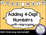 Adding 4 Digit Numbers with Regrouping Joke Math NO PREP