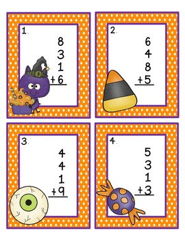 Adding 4 Numbers: Halloween Style