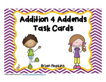 Adding 4 Numbers Task Cards FREEBIE
