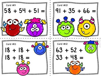 Adding 4 Numbers Together - Both Single Digits and Double Digits!  2.NBT.B.6