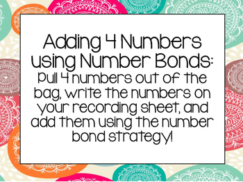 Adding 4 Numbers Using Number Bonds