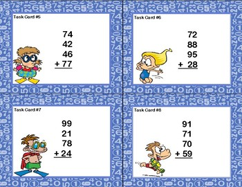 Adding 4 Two-digit Numbers-Task Cards-Grades 2-3 Beach Fun