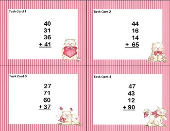 Adding 4 Two-digit Numbers-Task Cards-Grades 2-3 Valentine's Day