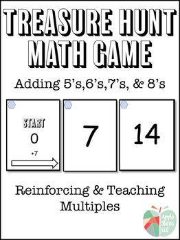 Adding 5's, 6's, 7's, 8's Treasure Hunt Math Game