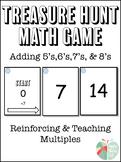 Adding 5's, 6's, 7's, 8's Treasure Hunt Math Game