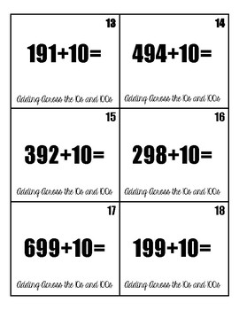 Adding Across 10s and 100s Task Cards