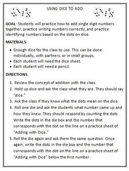 Adding Activity: Using Dice to Teach Students Addition