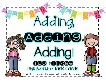 Addition Task Cards: 2 & 3 Digit Word Problems