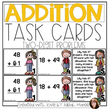 Adding, Adding, Adding! 2 Digit Addition Task Cards