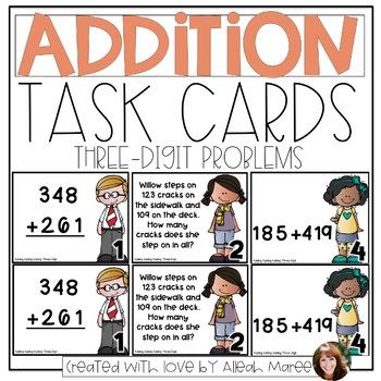 Adding, Adding, Adding! 3 Digit Addition Task Cards