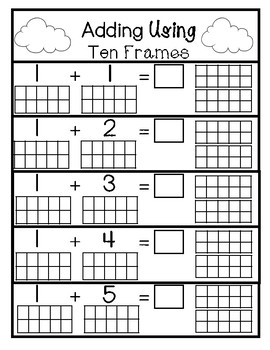 Adding/Addition using Ten Frames Numbers 1-10