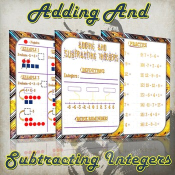 Adding And Subtracting Integers - (Guided Notes and Practice)