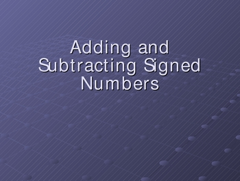 Adding and Subtracting Signed Numbers