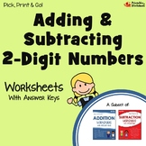 Adding And Subtracting With Regrouping Center, No Borrowing Worksheet Bundle