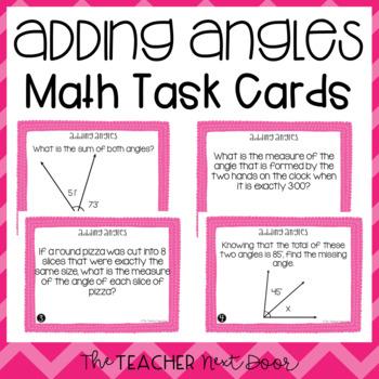 4th Grade Adding Angles Task Cards   Adding Angles Math Center