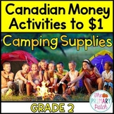 Canadian Money Coin Activities Adding to $1-Camping Theme