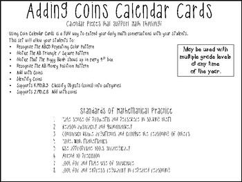 Adding Coins Calendar Cards