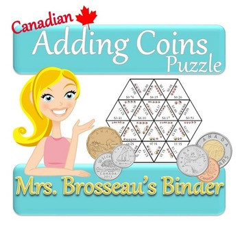 Money Math - Adding Coins Puzzle (Canadian Version)