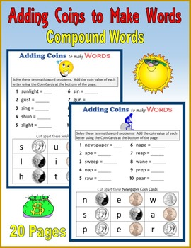 Money:  Adding Coins to Make Words (Compound Words)