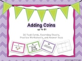 Adding Coins up to $1 Task Cards