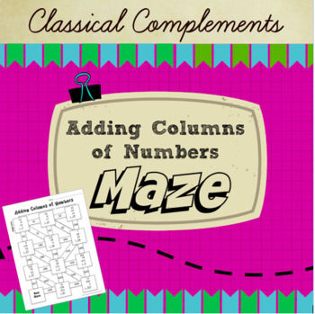 Adding Columns of Numbers Maze