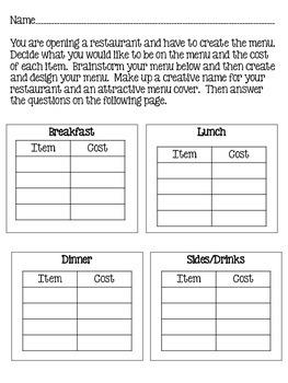 Adding & Comparing Decimals-Making a Menu