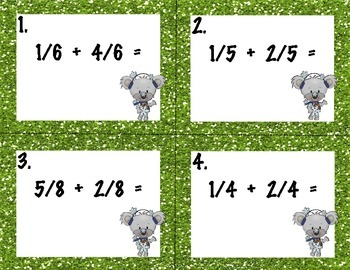 Adding Common Fractions Task Cards