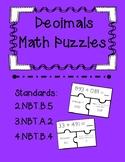 Adding Decimal Task Card Puzzles