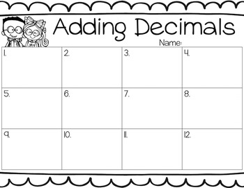 Adding Decimals Task Cards for Centers, Review, Scoot, & Test Prep