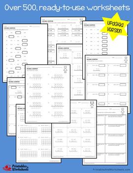 Adding Decimals Worksheets with Answer Keys (Updated Version Decimal Addition)