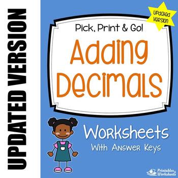 Decimal Addition, Adding Decimals Worksheets with Answer Keys