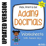Adding Decimals Worksheets, 5th Grade Math Packet For Practice