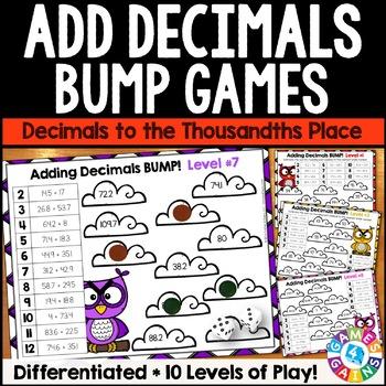 Adding Decimals Games: 10 Differentiated Bump Games for De