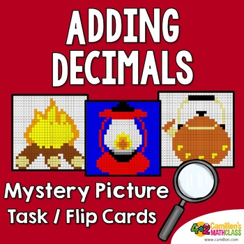 Adding Decimals Coloring Sheets Mystery Pictures Task Cards